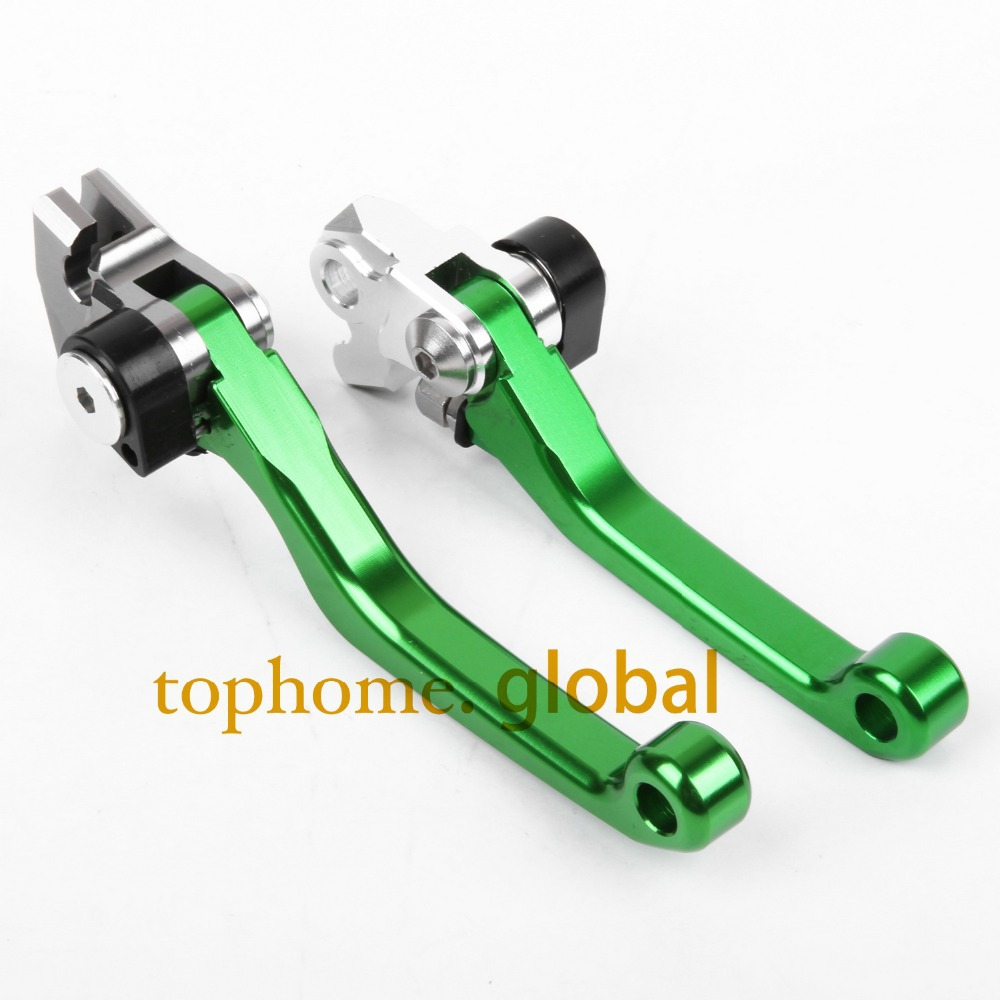 Hot One Pair CNC Pivot Dirttbike Brake Clutch Levers Green Color For Kawasaki KX85 2001-2015 2013 2012 2011 2010 2009 2008 2007 hot one pair cnc pivot dirttbike brake clutch levers for honda crf450r 2007 2015 2008 2009 2010 2011 2012 2013