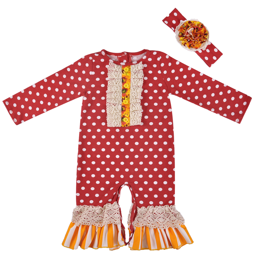 Wholesale Fall Boutique Baby Long Sleeve Cotton Boutique   Romper   Baby Girls Clothes Ruffle   Romper   With Headband GPF806-177