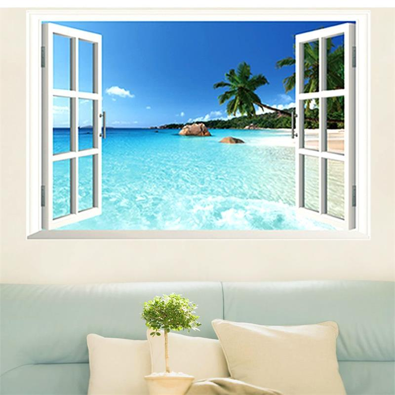 3d Fake Window Wall Stickers Living Room Decoration Home Decals Coconut Sea Beach Pvc Scenery Murals Art Poster