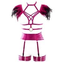 Strappy Feather Shoulder Epaulette Pastel Goth Punk Harness Bra Top Cage Chest Belt Garter Stockings Plus Size Women Art Dance
