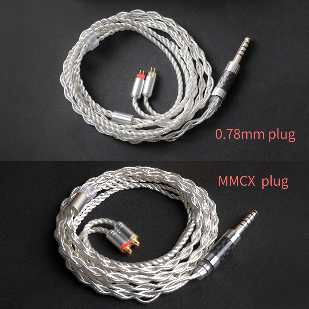 Hand Made DIY MMCX <font><b>0.78</b></font> <font><b>2PIN</b></font> Interface Headphone <font><b>Cables</b></font> 4.4mm Balanced Plug Cord for Sony ZX300A NW-WM1A NW-WM1Z ZS6 SE215 UE900 image