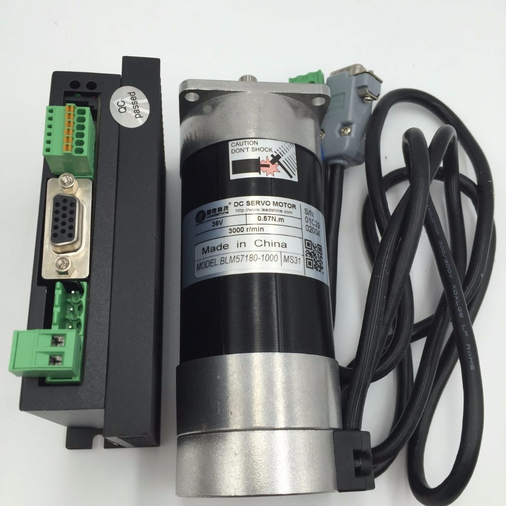 180W DC Brushless Servo Motor Drive Kit 0.57Nm 36V + ACS606 Servo Driver DC18-60V + Cable Leadshine Set BLM57180-1000+ACS606 new leadshine 180w brushless dc servo motor drive kit blm57180 1000 acs606 cable