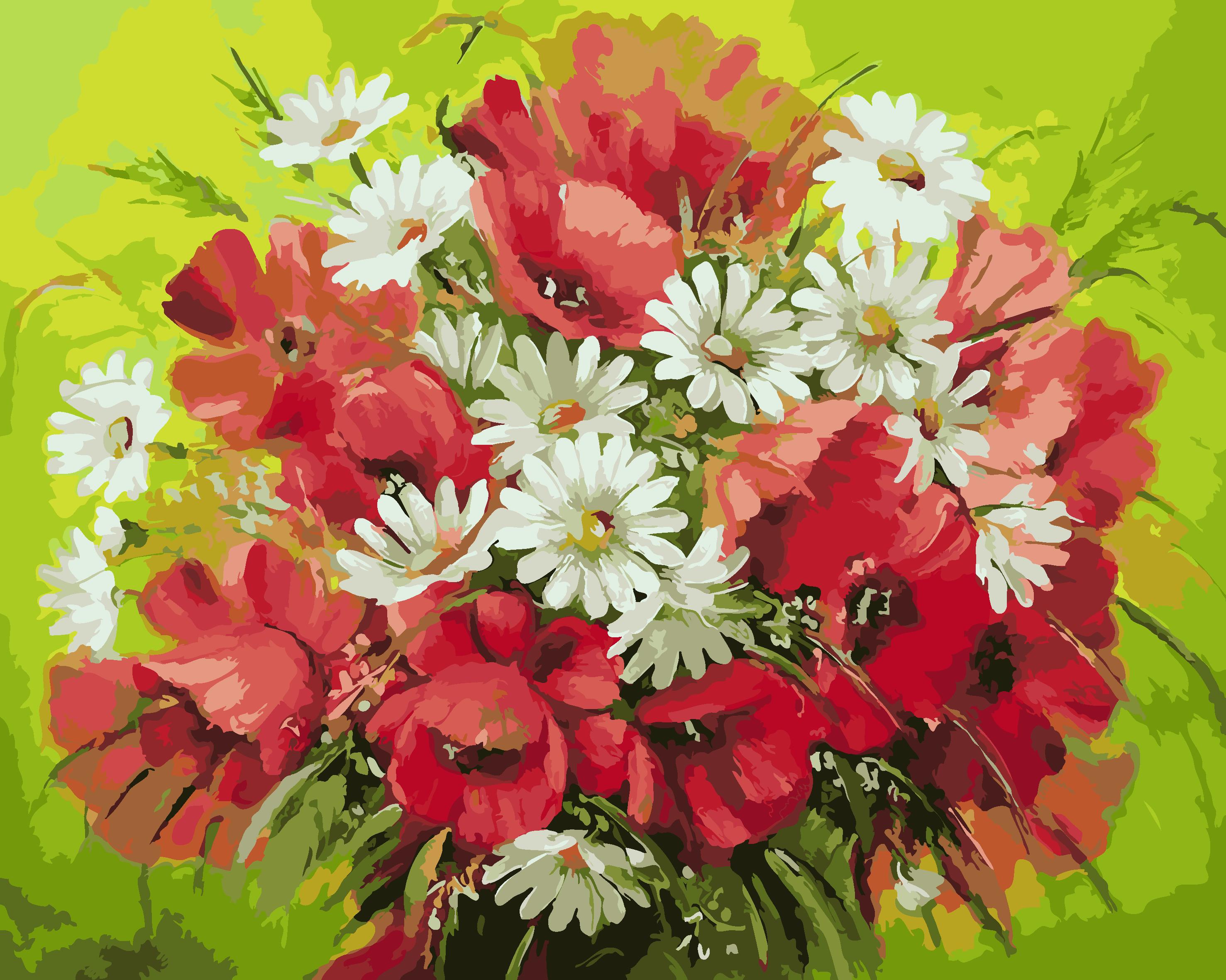 Poppy Flowers Acrylic Paint Crafts Digital Oil Painting Frameless