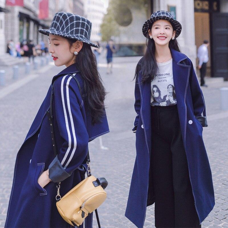 Windshield Women's Long-Style New Loose Harbor Style Retro Knee Fashion Coat