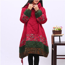 2016 Ethnic Coat Warm Women's Jacket Cotton-padded Clothes Plus Size Heaps Collar Fashion Outerwear Long Jacket Nice Down Parkas