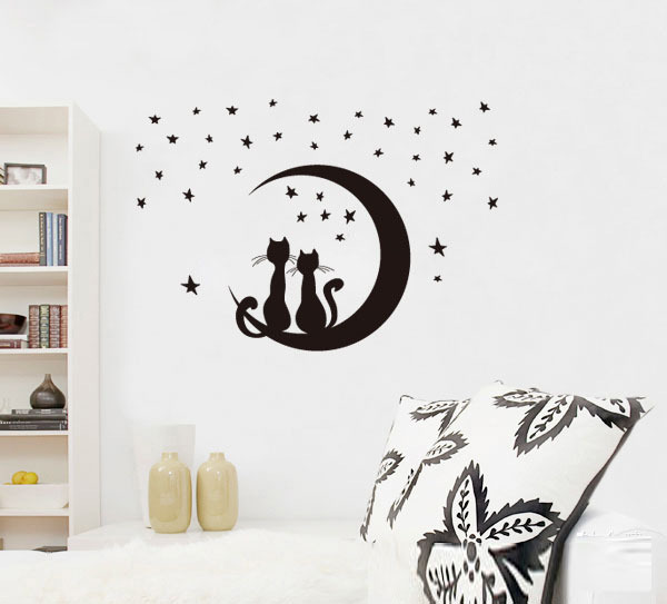 Pairs Of Love Cats Moon Stars Pvc Removable Wall Stickers,Simple Stylish  Home Sitting Room Part 12