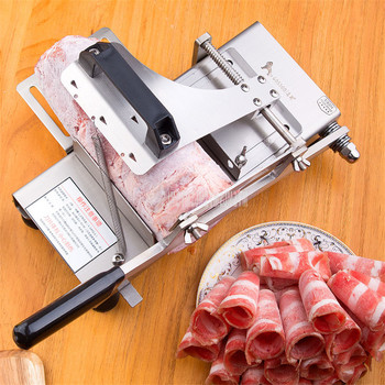 Hot Manual Lamb Beef Slicer Stainless Steel Vegetable Frozen Meat Cutting Machine Max 150mm Diameter Mutton Roll Cutter ST100A