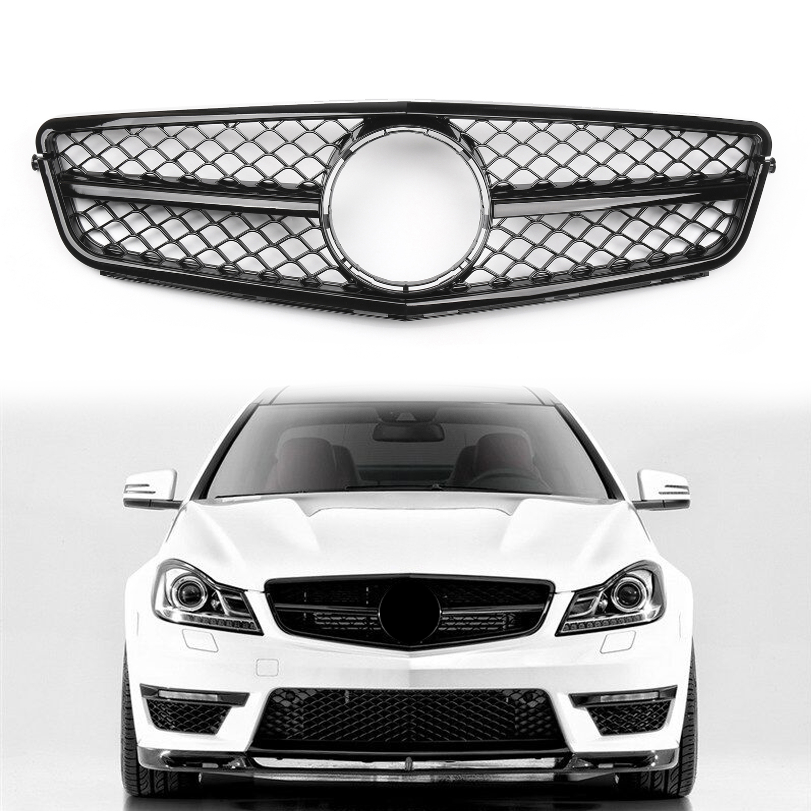 Areyourshop ABS Black Front Bumper Grille <font><b>Grill</b></font> For <font><b>Benz</b></font> C-Class <font><b>W204</b></font> C300 C350 2008-2014 Front Upper <font><b>Grill</b></font> Car Auto Parts image