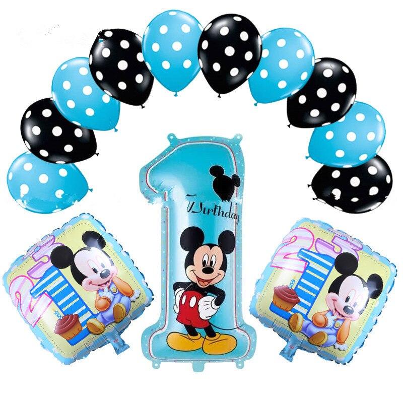 13 Stücke Minnie Mickey Mouse Theme Party Dekoration Kombination Latex Folie Ballons Geburtstag Party Luftballons Baby Cartoon Hut Um Zu Helfen, Fettiges Essen Zu Verdauen