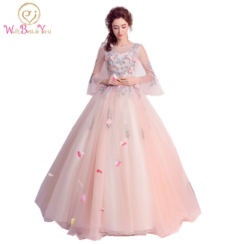 Cheap Quinceanera Gowns Pink Long Sleeve Quinceanera Dresses Debutante vestido 15 anos Ball Gown Sweet Prom