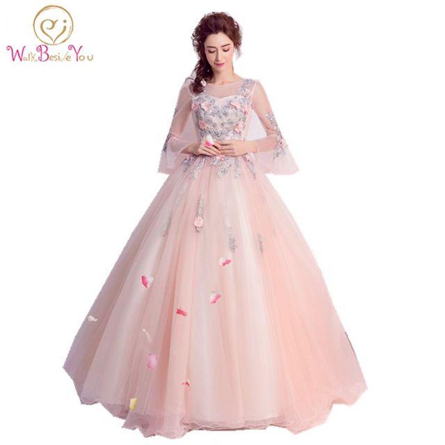Baratos quinceanera vestidos Rosa manga larga Vestidos de ...