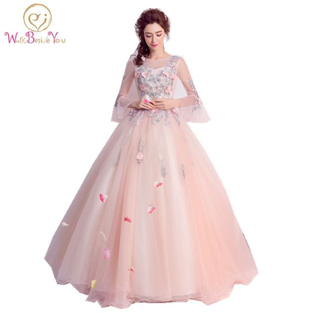 Cheap Quinceanera Gowns Pink Long Sleeve Quinceanera Dresses ...