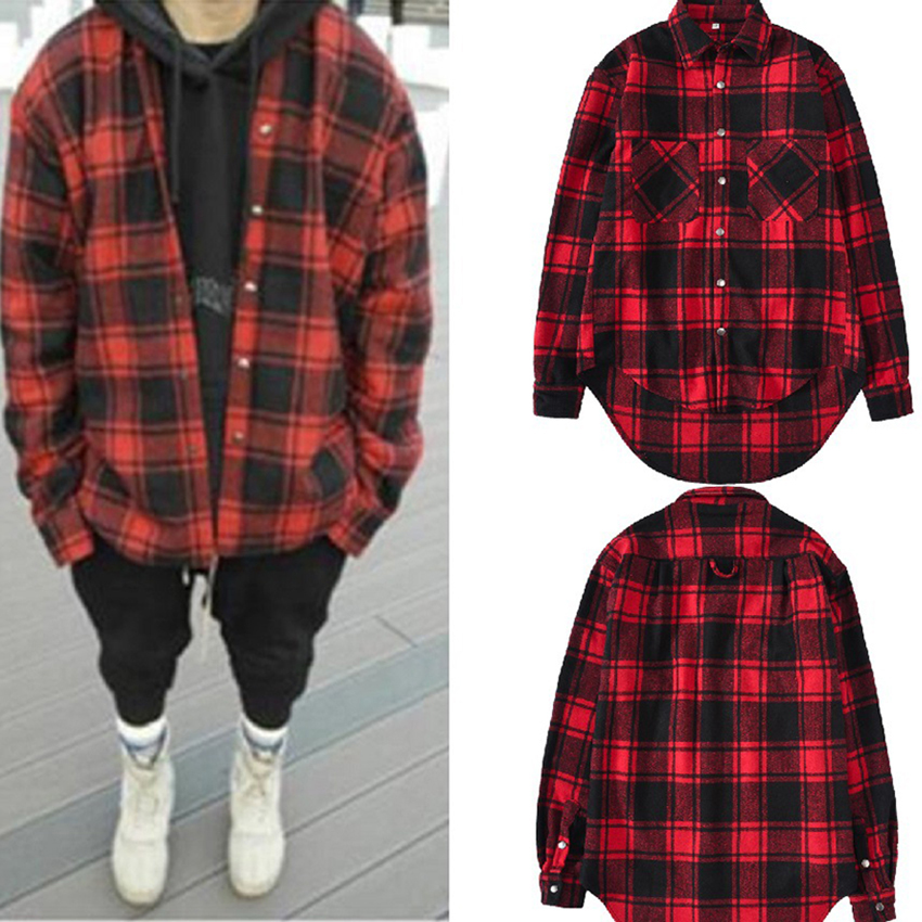 Nouveau printemps et automne chemise homme à manches longues OVERSIZE Swag Hem Hip Hop Streetwear treillis chemise longue homme chemise vêtements