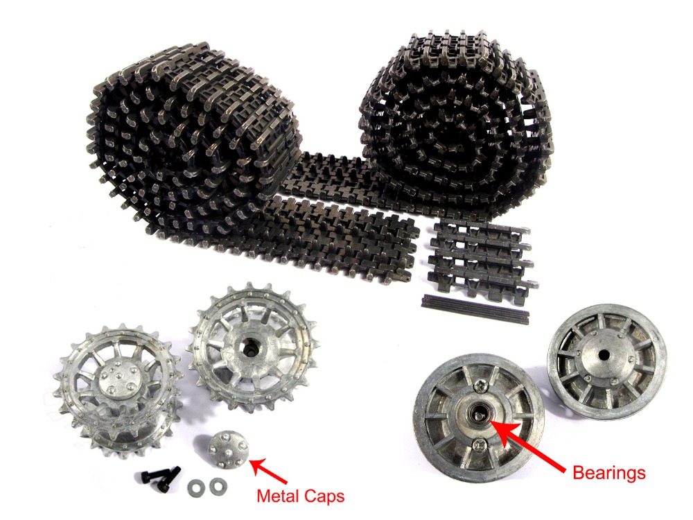 Mato Metal black Tracks sprockets early with metal caps idler wheels with bearings for Heng Long 3818 1 16 RC Tiger 1 tank mato sherman tracks 1 16 1 16 t74 metal tracks