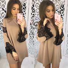 Spring Women Dress 2018 Fashion Elegant Mini Dress Sexy Casual  Lace Patchwork Party Dresses  Women Clothing A021
