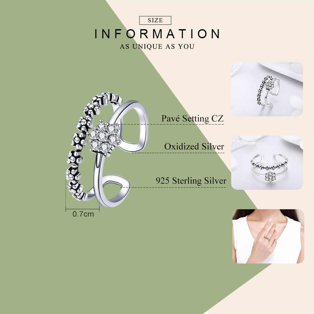 BAMOER véritable 925 en argent Sterling élégant marguerite fleur bague réglable taille ouverte anneaux pour femmes bijoux en argent SCR428