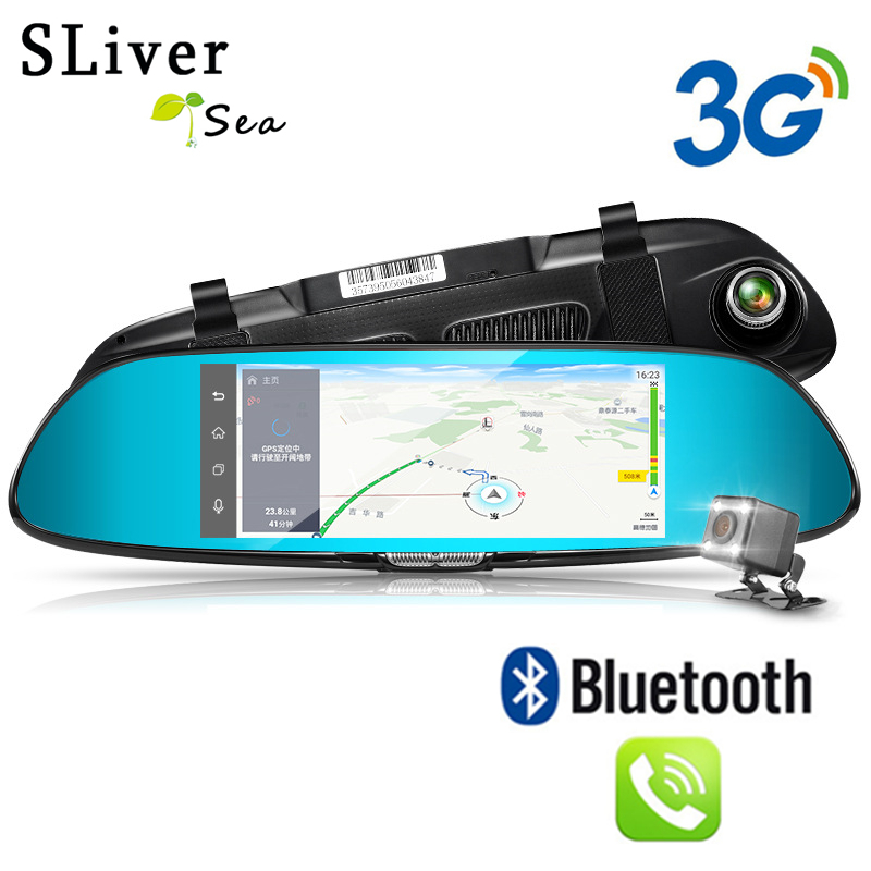 SLIVERYSEA 7 Car Camera DVR GPS Bluetooth Dual Lens Rearview Mirror Video Recorder Full HD 1080P Automobile DVR Mirror Dash cam gps navigator mirror car video recorder with bluetooth full hd resolution wifi camera automobile dvr rearview mirror dash cam