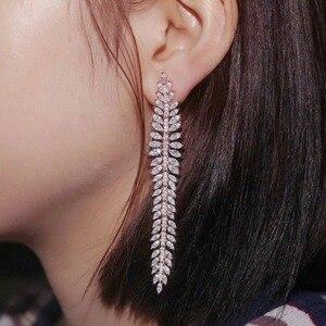 Image 2 - 925 Sterling Silver olive branch Long Earrings Micro Cubic Zircon Stones Women Leaf CZ Luxury Wedding Party Festival Jewelry