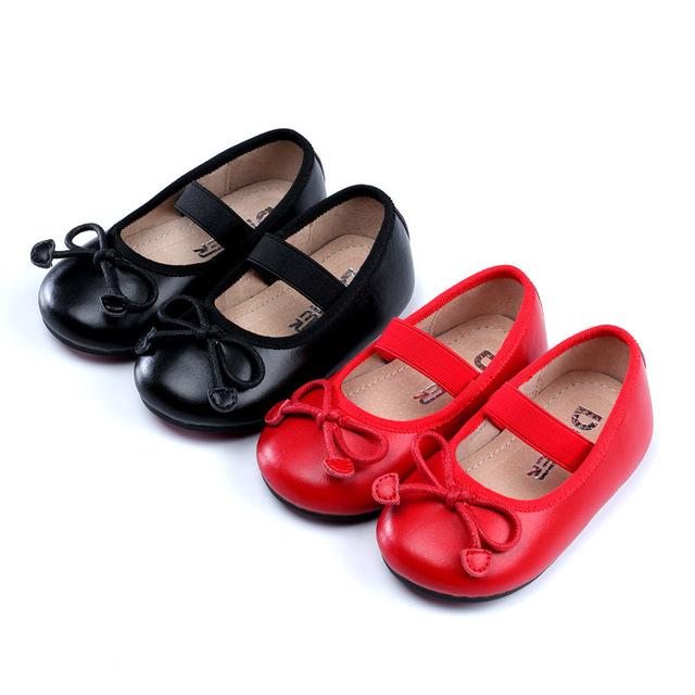 Meninas shoes novo 2017 couro do couro genuíno da criança do bebê shoes princesa meninas bowknot vestido da menina shoes crianças festa de estudantes shoes