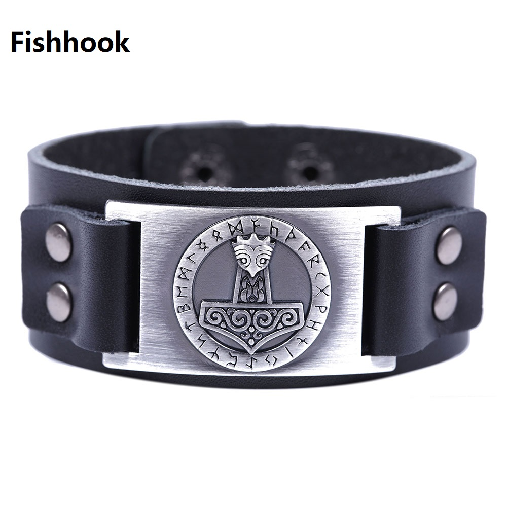 Fishhook Dropshipping Thor's Hammer Northern Europe Patron Saint With Talisman 24 Runes Genuine Leather Bracelet For Men Agreeable Sweetness