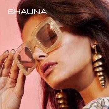 SHAUNA קריסטל קישוט כיכר משקפי שמש נשים מותג מעצב אופנה שיפוע גוונים
