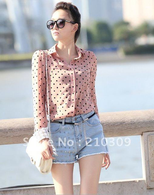 Flocking dot lace long sleeve chiffon unlined upper garment lady blouses