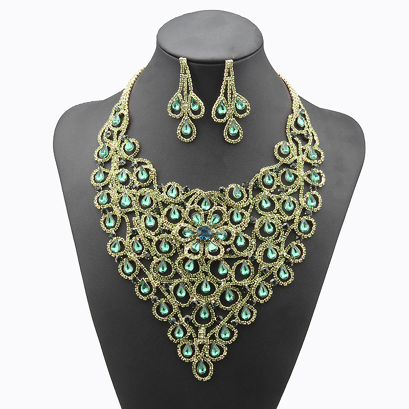 New Arrival Top Quality Water Drop Zinc Alloy Austrian Crystal Necklace/Drop Earrings Jewelry Sets Dress Accessories N115 цена 2017