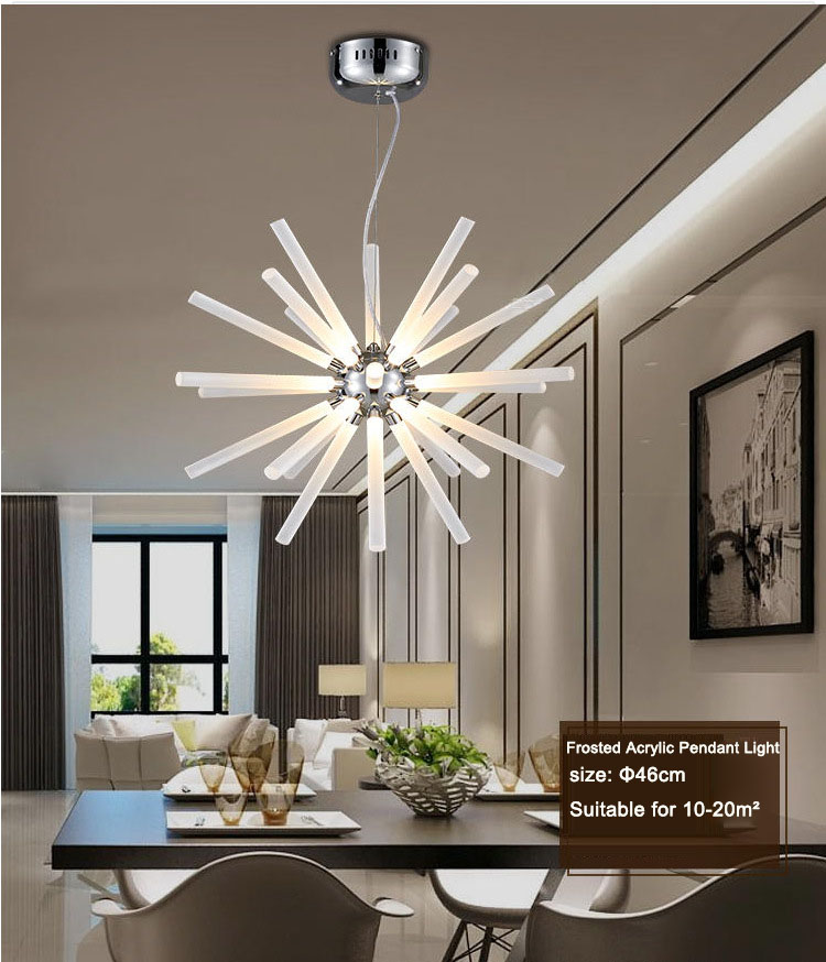 Nordic Style Bubble Column Crystal Ball Led Pendant Lamp Frosted ABS Clear Droplight Fixture Lamparas for Restaurant Living Room