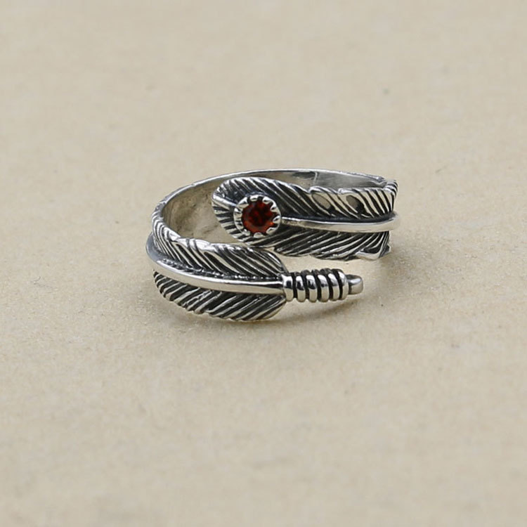 Handmade Jewelry Thai Silver Feather Ring S925 Sterling Silver Couple Ring