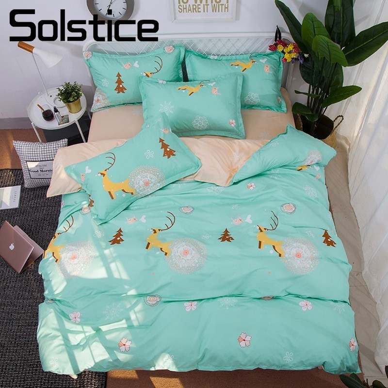 Solstice Home Textile Elk Deer Duvet Cover Pillowcase Flat Bed Sheet 3/4Pcs Kids Teen Bedding Sets Boy Girl Bed Linen King Queen