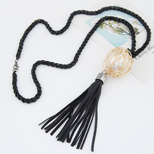 Korean Long Link Tassel Necklace For Women Jewelry Bijoux Simulated Pearl Ball Jewellery Necklaces Pendants Sweater