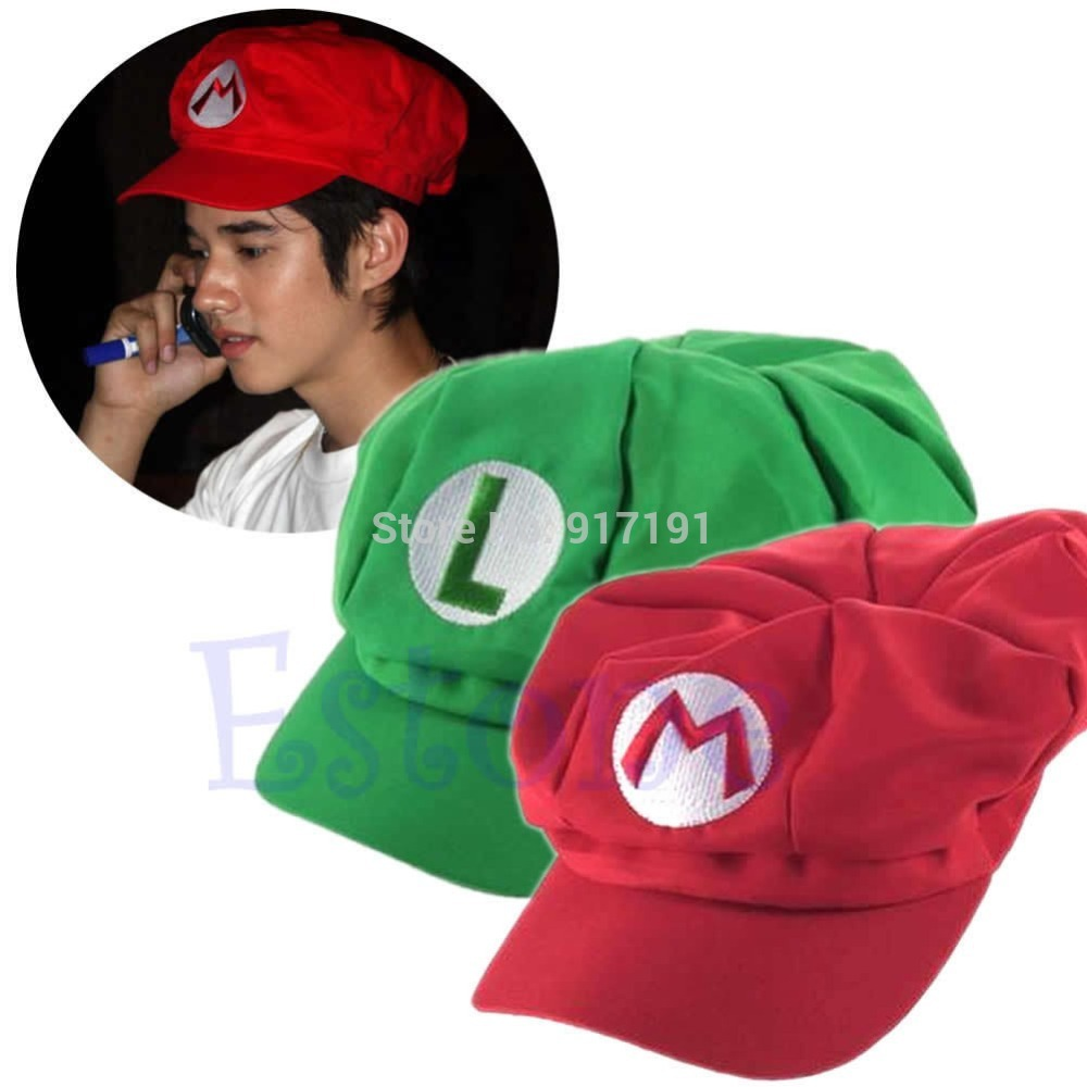 1pcs New arrival fashion 2 colors Luigi Super Mario Bros Cosplay Adult Hat adjustable Buckle cap Free / Drop Shipping chemo skullies satin cap bandana wrap cancer hat cap chemo slip on bonnet 10 colors 10pcs lot free ship
