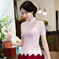 Yaz Seksi İnce Kadınlar Pamuk Dantel Gömlek Üstleri Çin Lady Mandarin yaka Bluz Vintage Düğme Gömlek Sml XL XXL XXXL