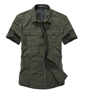 Image 2 - AFS ZDJP Men 2018 New Summer Mens Solid Military Short Sleeves Shirts Cotton Breathable Chemise homme Loose Army Shirt