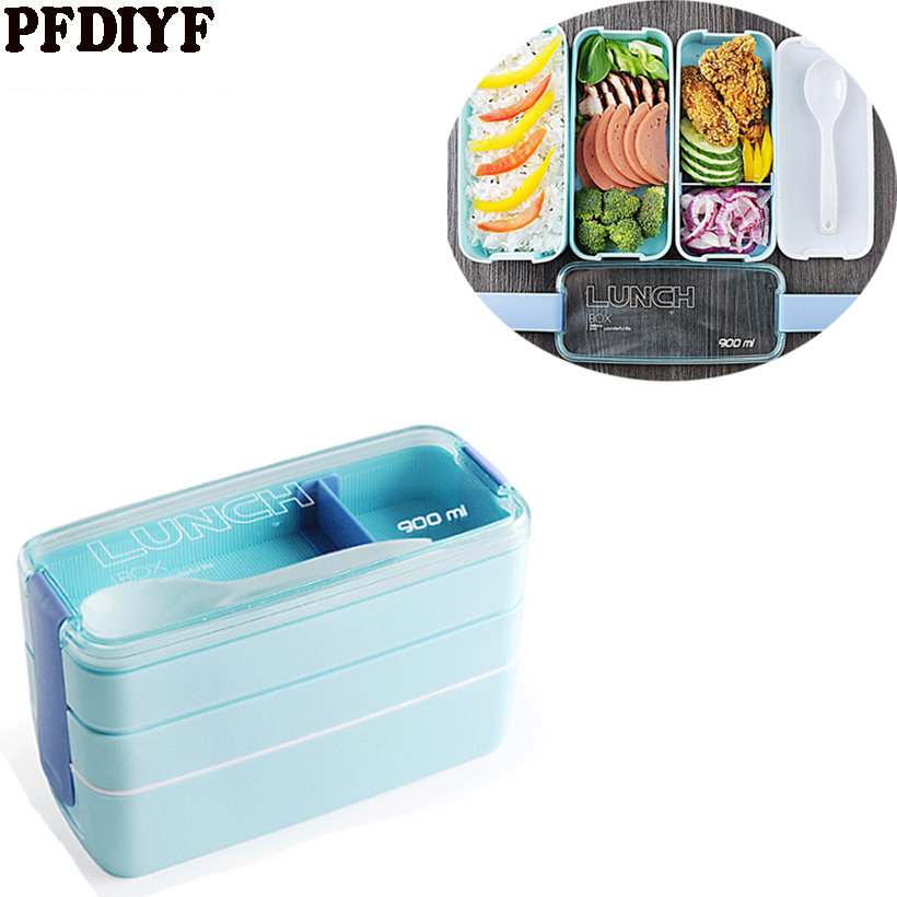 PFDIYF 3 Colors Portable 900ml 3 Layers Microwave Lunch Bento Box Candy Color Food Storage Containers Lunchbox Eco-Friendly ...