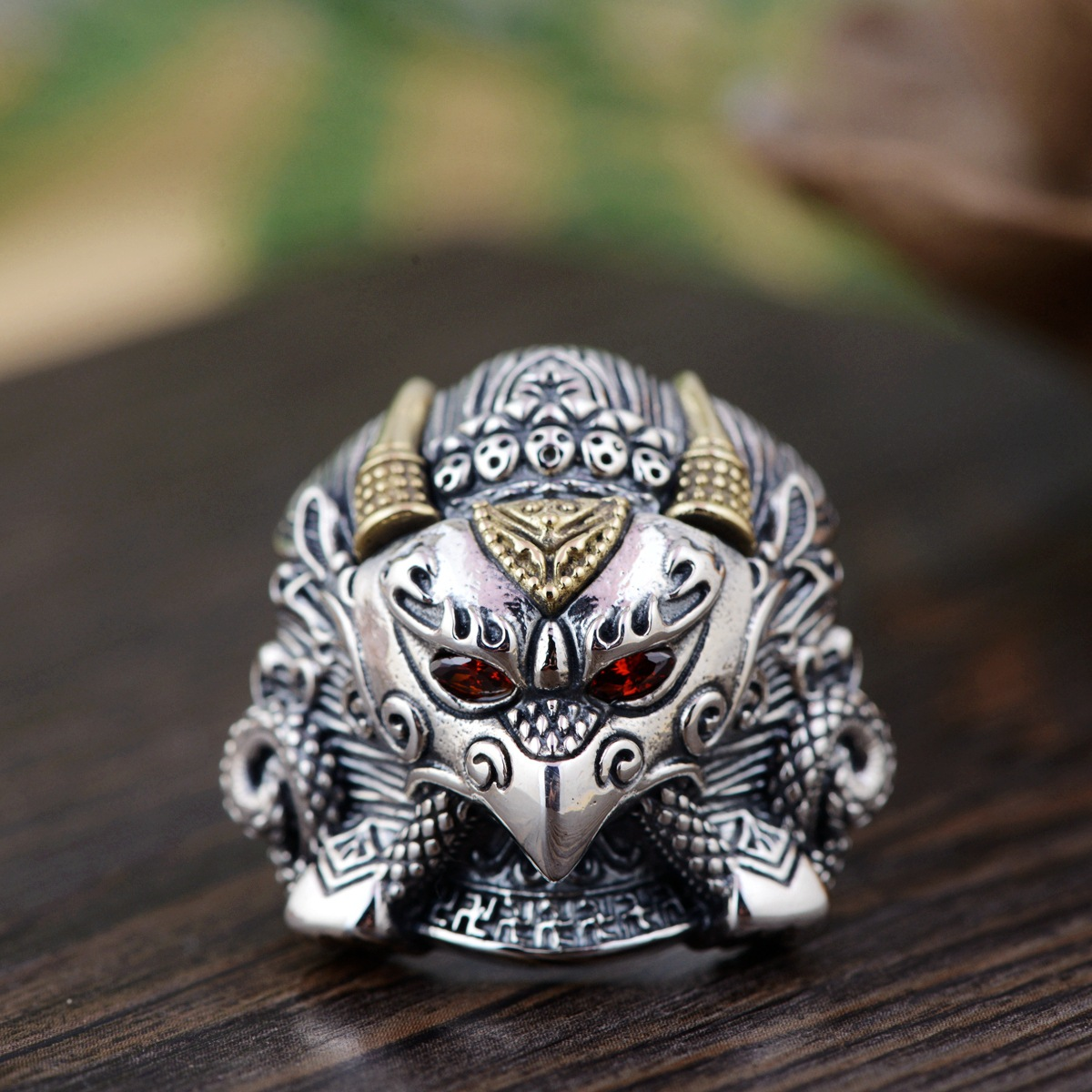 S925 pure silver ring Thai silver antique style Dapeng golden wings bird male versions silver wings silver wings 010022v1 5 186