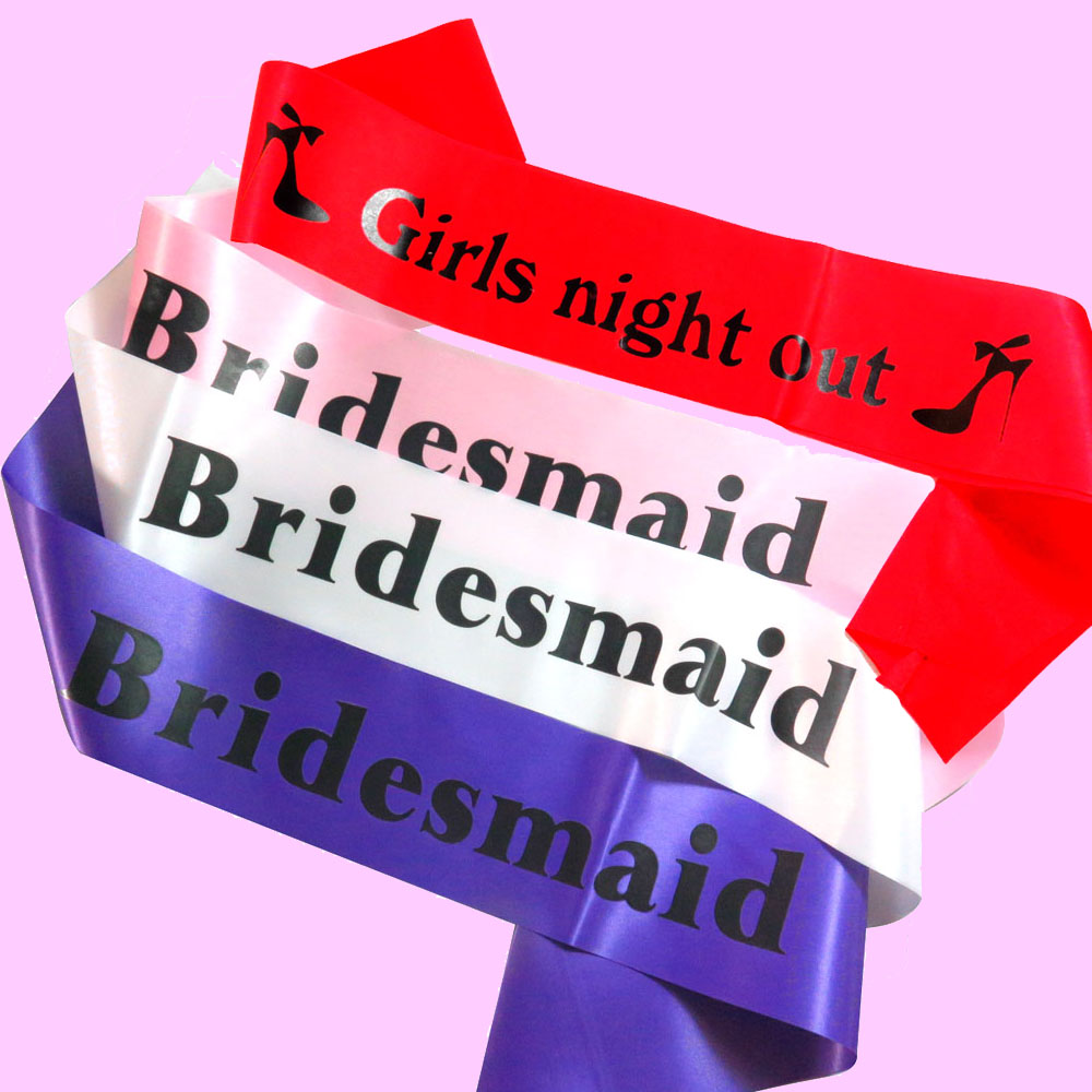 2018 New Design sash Girls night out Bridesmaid printing Bachelorette party event pale pink black purple red ribbon for wedding