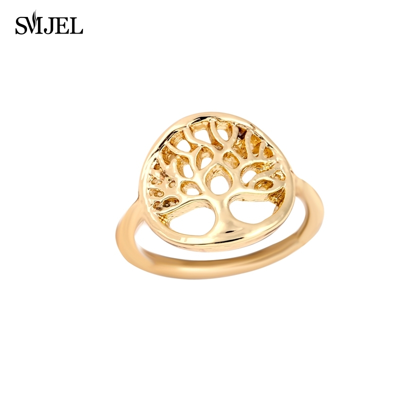 SMJEL 10 PCS-R101 Wholesale Fashion Sacred Tree of Life Rings for Women Size 6.5 Vintage Hollow Plant Ring Men