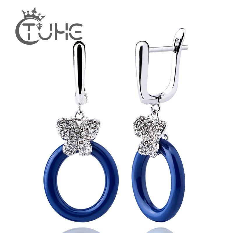 Fashion Brand  Luxury Butterfly Earrings Crystal For Women Blue Pink Ceramic Rhinestone Earrings Engagement Jewelry  Brincos