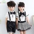 Children Clothes Set Girls Boys School Uniforms Sets Bow Tie T-shirt +Half Strap Pant Tutu Skirt Set Boy Performing Suit L209
