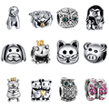 WYBEADS Unique Silver Charms Cute Animals With Heart Charm European Fit Bracelets & Bangles DIY Accessories Jewelry Original
