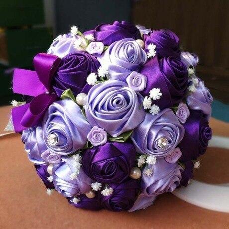 Free Shipping Wedding Bouquet Handmade Ribbon Roses Pink Purple Blue