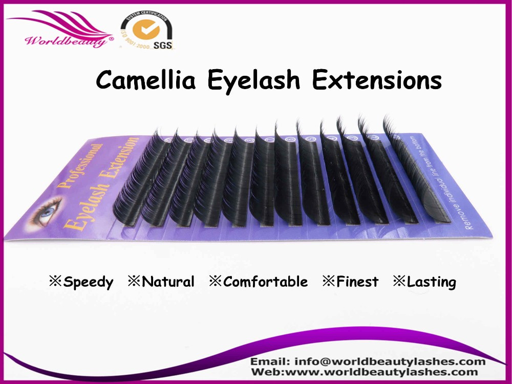 US $16 2 10% OFF|Individual Korea PBT Fiber Camellia Lashes 3 different  length in one row Eyelash Extension New procut!-in False Eyelashes from  Beauty