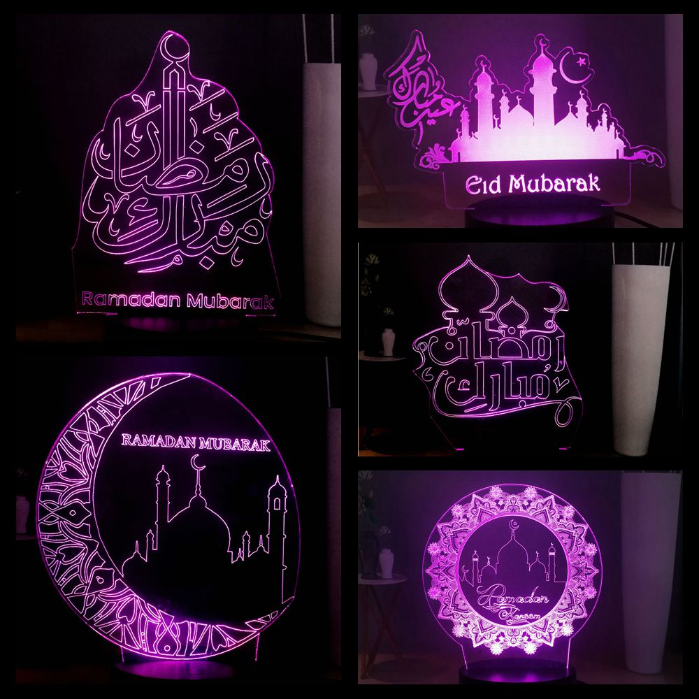 HOT Islam Ramadan 3D Optical Lamp USB Remote Multicolor LED Bedroom Kid Night Light Home Decor Friend Holiday Gift Free Shipping