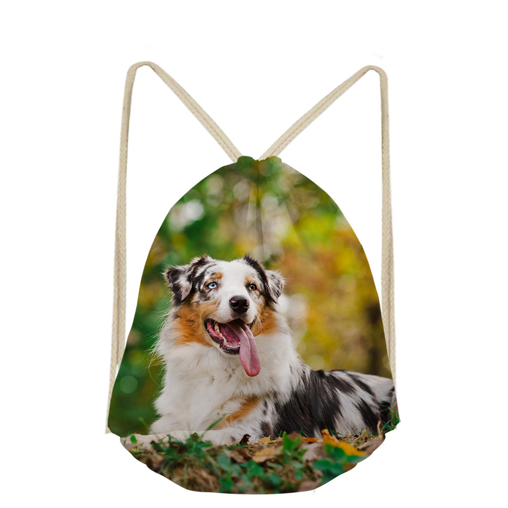 3D Australian Shepherd Dog Lover Custom For Boys Girls Drawstring Bag DailyPack Pocket Bags Small Shoes School Mochilas Escolar