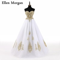 White With Gold Lace Elegant Quinceanera Dresses 2017 Real Pictures Sexy Sweetheart Ball Gowns Beading Sweet