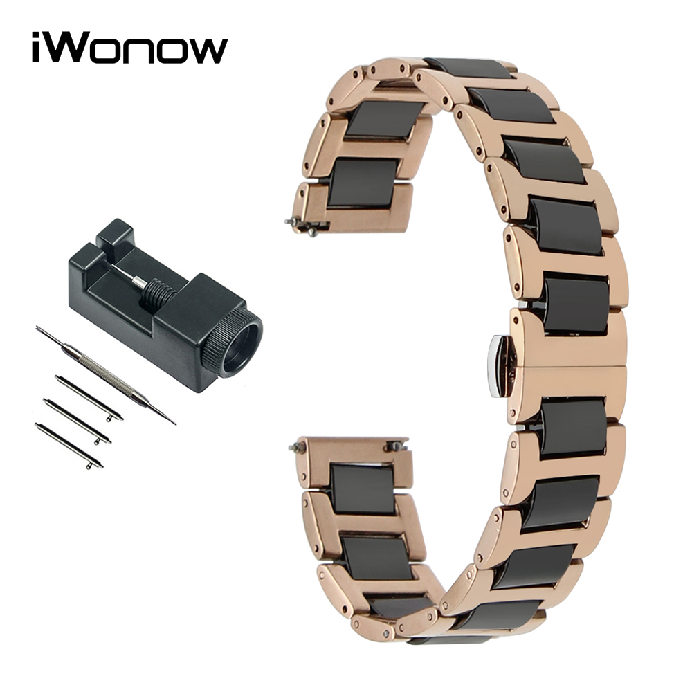 18mm 20mm 22mm Ceramic & Stainless Steel Watch Band for Breitling Men Women Wrist Strap Quick Release Bracelet + Link Remover curved end stainless steel watch band for breitling iwc tag heuer butterfly buckle strap wrist belt bracelet 18mm 20mm 22mm 24mm