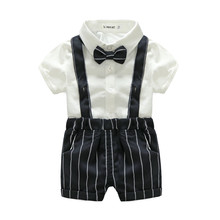 New Baby Boys Clothing Sets Baby Boy Suit Formal Gentleman Short Sleeve Shirt+Suspender Short Kids Boys Clothing Set for Wedding