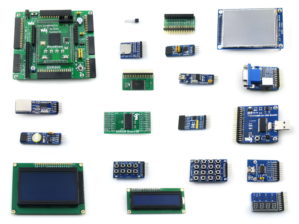Waveshare EP4CE10 EP4CE10F17C8N ALTERA Cyclone IV FPGA Development Board + 19 Accessory Modules Kits = OpenEP4CE10-C Package B waveshare xc3s250e xilinx spartan 3e fpga development board 10 accessory modules kits open3s250e package a