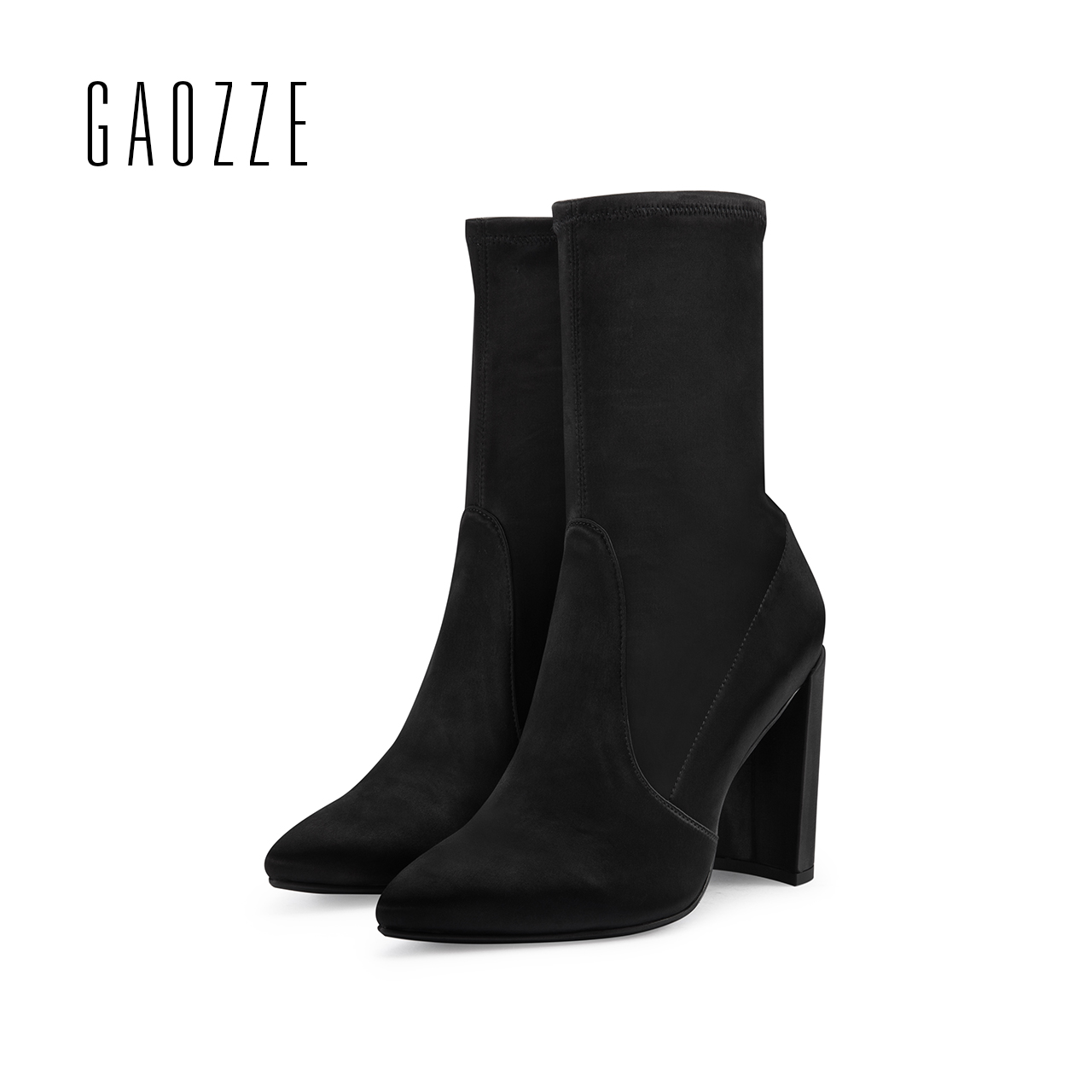 GAOZZE winter boots women 9.5CM thick high heels Mid-Calf elastic Boots brand female high-heeled socks boots Slip-On 2017 new gaozze fashion women socks boots mid calf thick high heels boots women comfortable elastic knitted fabric female boots brand